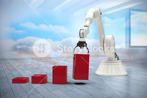 Composite image of composite image of robot arranging red toy blocks into bar ghaph 3d