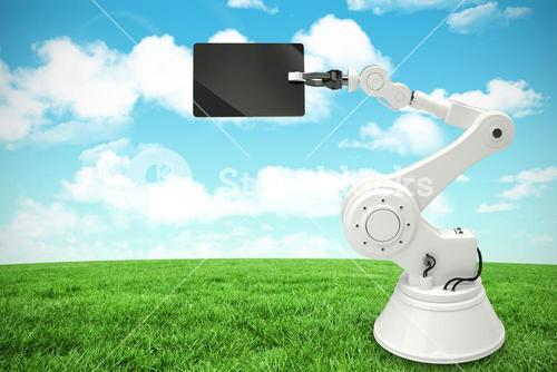 Composite image of digital image of robot holding digital tablet 3d