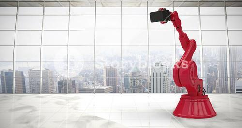 Composite image of composite image of red robot holding phone 3d