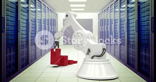 Composite image of digital generated image of robot arranging red toy blocks into bar ghaph 3d