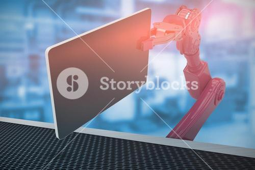 Composite image of composite image of red robot holding computer tablet 3d