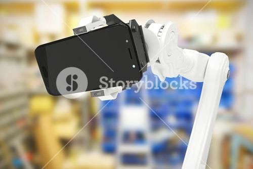 Composite image of composite image of robot holding mobile phone 3d
