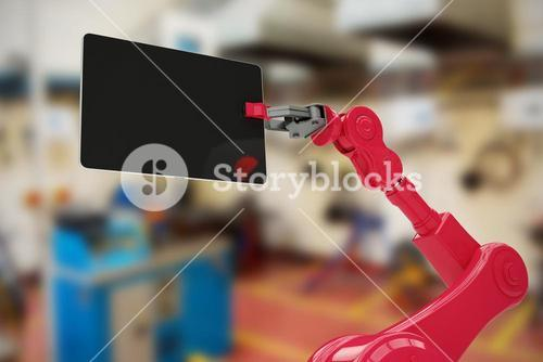 Composite image of composite image of red robot and digital tablet 3d