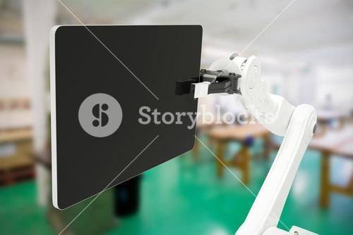 Composite image of graphic image of digital tablet with robot 3d