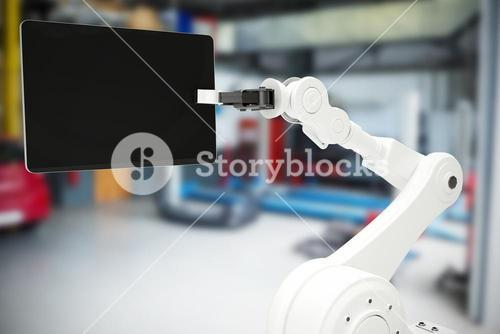 Composite image of graphic image of robot holding digital tablet 3d