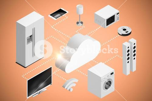 Composite image of computer graphic image of cloud and home appliances icon 3d
