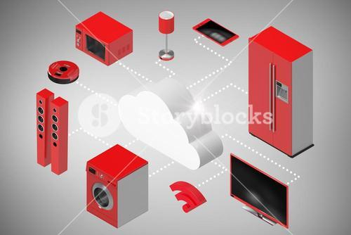 Composite image of digitally generated image of cloud and appliances icons 3d