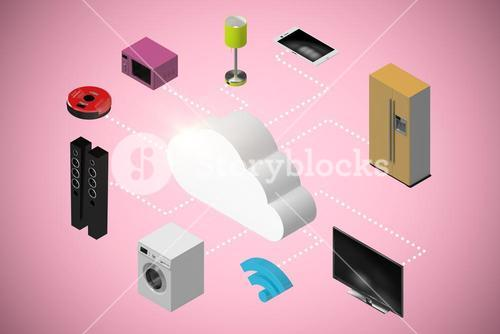 Composite image of computer graphic image of appliances 3d