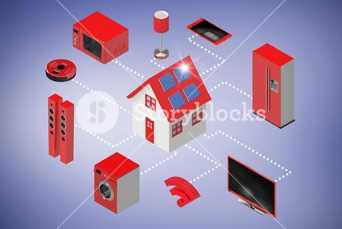 Composite image of computer generated image of home icon and appliances 3d