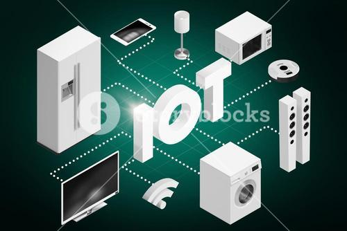 Composite image of computer generated image of text and appliances icons 3d