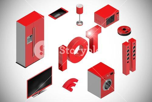 Composite image of digitally generated image of text and appliances icons 3d
