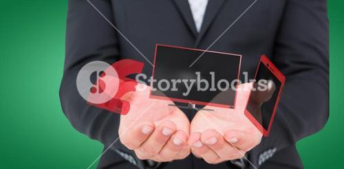 Composite image of businessman holding his hands out 3d