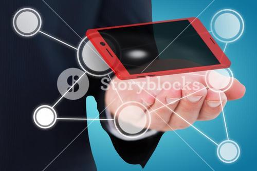Composite image of mid section of a businessman with hands out 3d