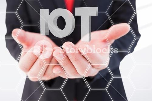 Composite image of businessman presenting with his hands 3d