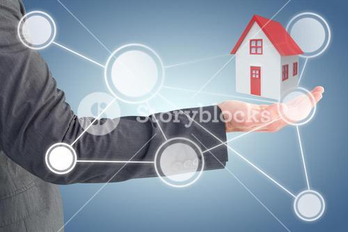 Composite image of businessman holding his hand out 3d