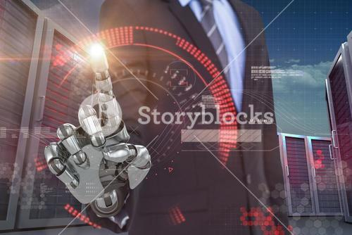 Composite image of graphic image of businessman with robotic hand 3d