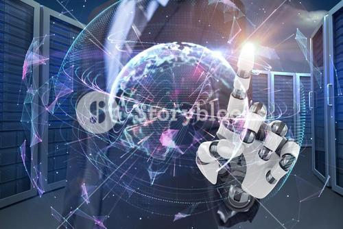 Composite image of graphic image of businessman with robotic arm 3d