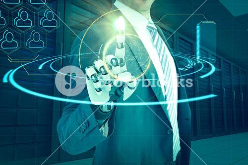 Composite image of composite of businessman with robotic hand 3d