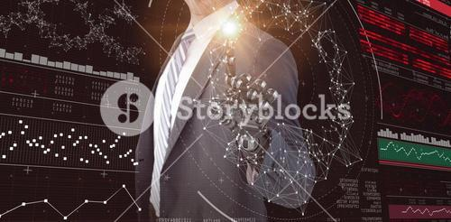 Composite image of computer graphic image of businessman with robotic hand 3d