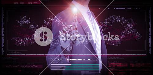 Composite image of computer graphic image of businessman with robotic hand in full suit 3d