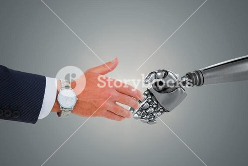 Composite image of businessman in suit clenching fists
