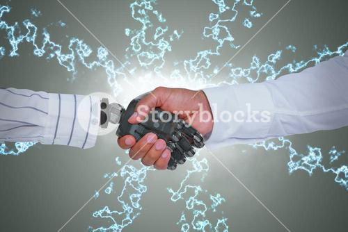 Composite image of composite image of businessman and robot shaking hands