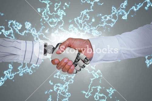Composite image of businessman and robot shaking hands