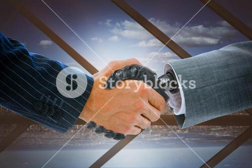 Composite image of robot and businessman dealing