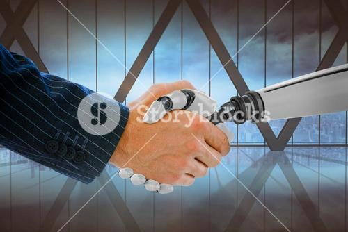 Composite image of cropped hand of businessman dealing with robot