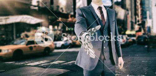 Composite image of graphic image of businessman with robotic hand