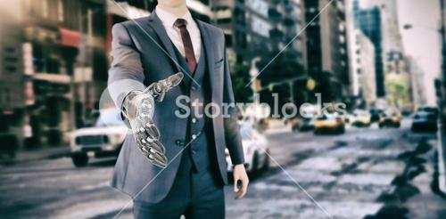 Composite image of composite image of businessman with robotic hand