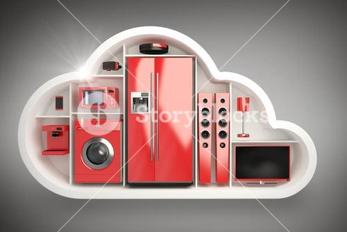 Composite image of red colored appliance in cloud shape 3d