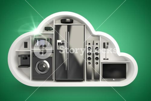 Composite image of black electrical appliance in cloud shape 3d