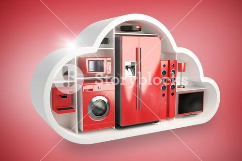Composite image of red electrical appliance in cloud shape 3d