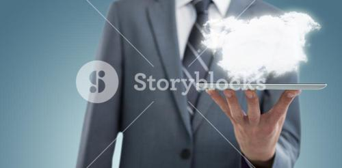 Composite image of midsection of businessman with digital tablet 3d