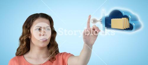 Composite image of pretty woman with brown hair looking away 3d