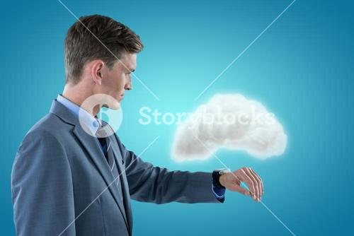 Composite image of sophisticated businessman checking time 3d