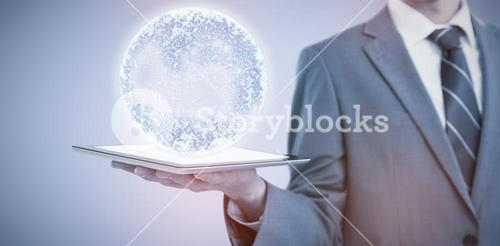 Composite image of midsection of businessman holding tablet computer 3d