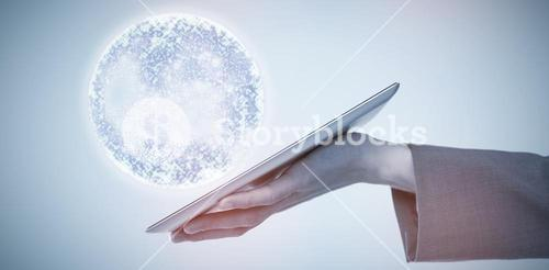 Composite image of cropped image of businessman holding tablet computer 3d