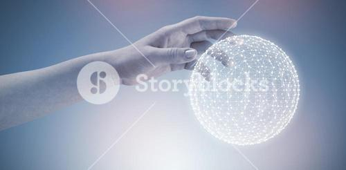 Composite image of close-up of cropped hand on white background 3d