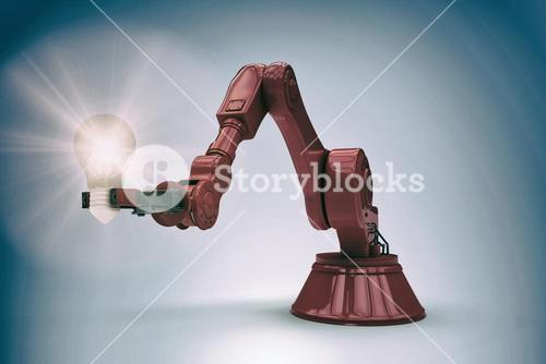 Composite image of illustrative image of red robotic arm holding light bulb 3d