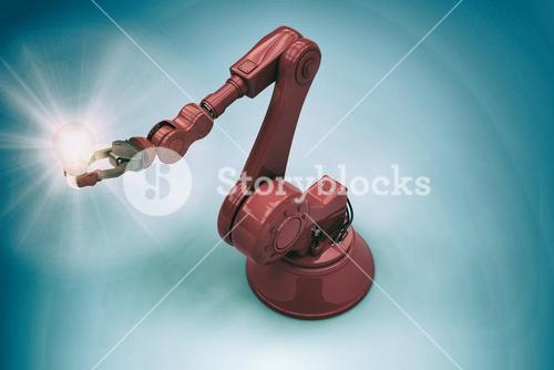 Composite image of illustrative image of robotic arm and light bulb 3d