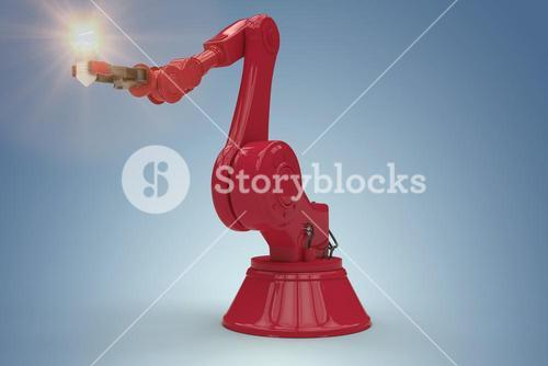 Composite image of illustrative image of robotic hand and light bulb 3d