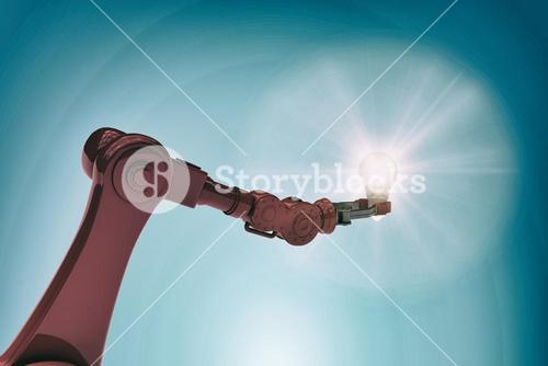 Composite image of illustrative image of robotic hand holding filament 3d