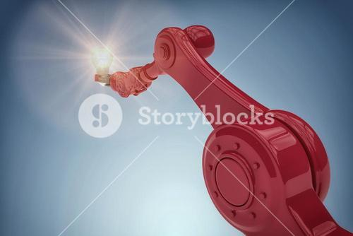 Composite image of graphic image of robotic hand holding filament 3d