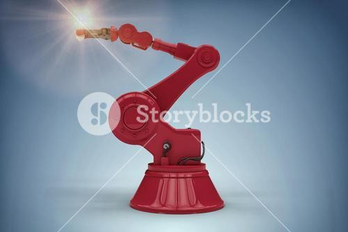 Composite image of digital generated image of robotic arm holding filament 3d