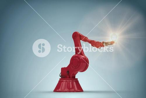 Composite image of composite image of robotic arm holding filament 3d