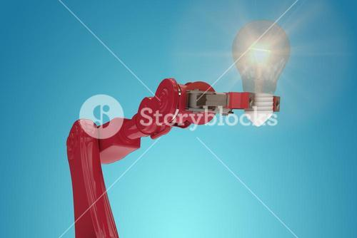 Composite image of digital composite image of red robotic arm holding filament 3d