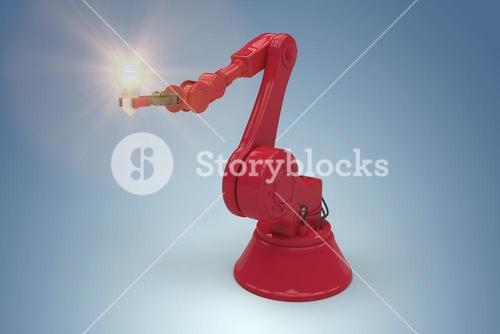 Composite image of digital composite image of red robotic arm holding light bulb 3d