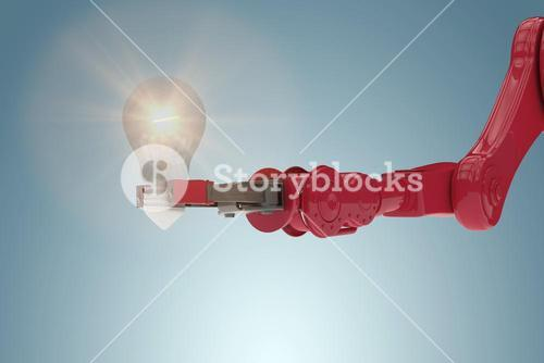 Composite image of composite image of robotic arm holding light bulb 3d